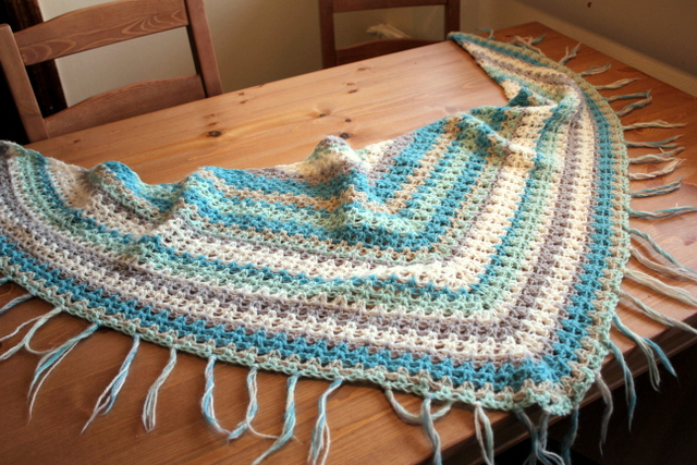 V-stitch crochet shawl