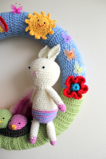 Crochet easter / spring wreath